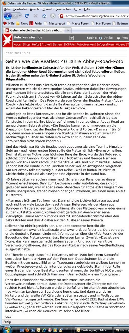 Abbey Road-Artikel bei stern.de